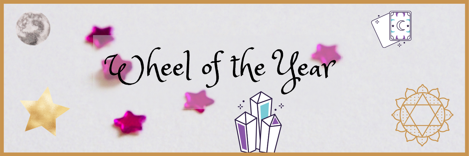 Wheel of the year with Wiccan symbols