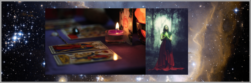 Wicca, Wiccan dressed all in red. Tarot cards. candles.