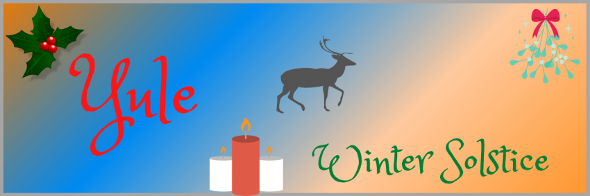 Yule symbols such as a stag, holly and candles