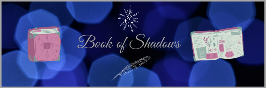 Book of shadows cover and inside as illustrations