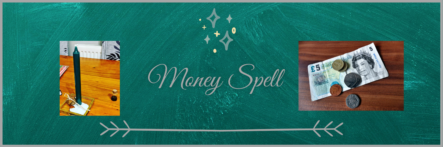 Money - five pound note and coins. Spell green candle and leaf