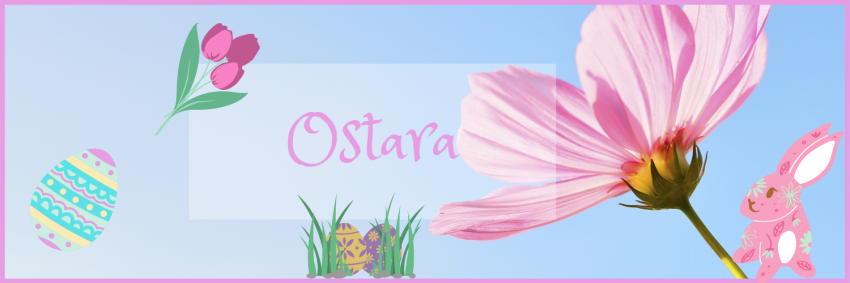 Ostara symbols such as eggs, flowers and pastels