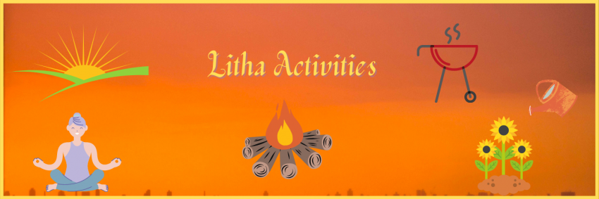 Examples of Litha activities, a bonfire, a person meditating, the sunrise, a BBQ and a watering can over some sunflowers