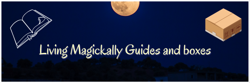 Outline of a guide book and a cardboard box with a background of the sky and a full moon