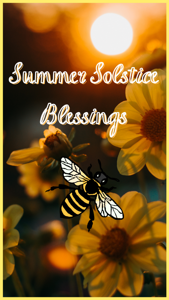 Litha art - a bumble bee with a background of yellow flowers and the sun