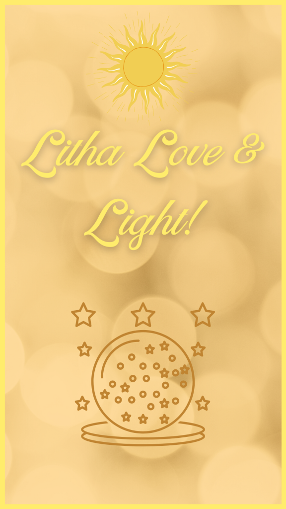 Gold and yellow background with a crystal ball and a sun for Litha art