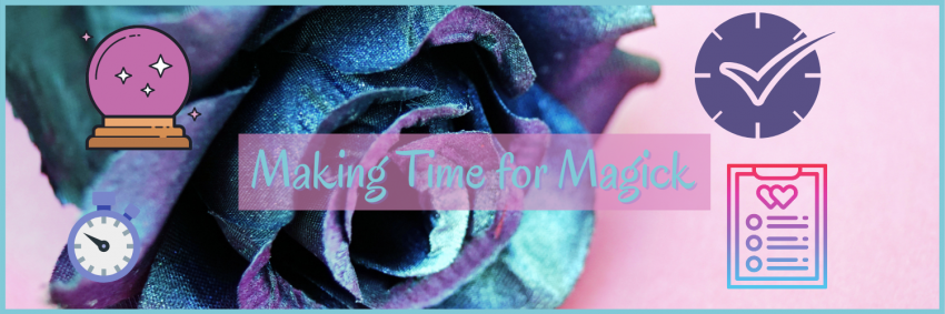 Clock for time and crystal ball for magick. Purple and blue rose in background against pink backdrop