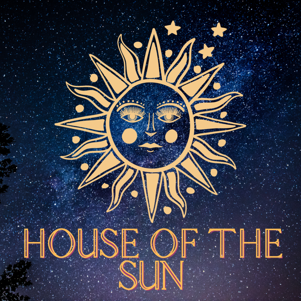 A sun with a face in pale orange with a night sky background