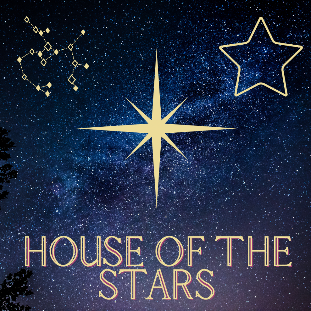 A bright star in the centre, a constellation to the left and a five pointed outline of a star to the right. All with a nights sky background