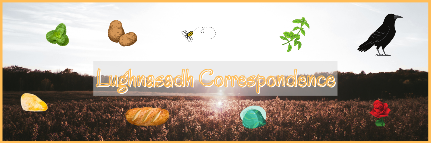 Background - a field of wheat with the sun setting. In the foreground are images of items that are Lughnasadh correspondence. There is a loaf of bread, a malachite crystal, hops, a bee, a crow, potatoes, and a citrine crystal.