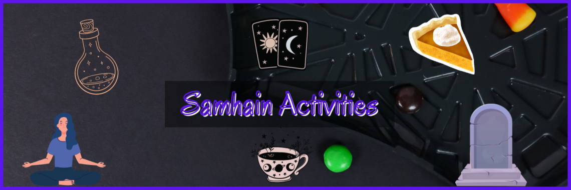 Samhain activities - Tarot cards, pumpkin pie, a grave stone, a cup with magick symbols on, someone meditating and a potion bottle